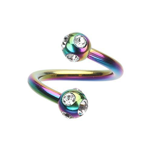 Rainbow/Clear Colorline PVD Aurora Gem Ball Twist Spiral Ring