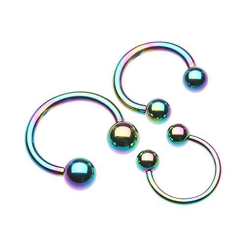 Rainbow Colorline PVD Basic Horseshoe Circular Barbell
