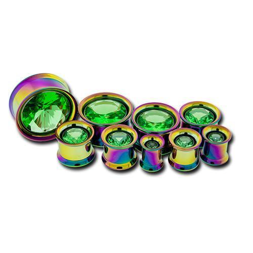 Rainbow Internally Threaded Double Flare Tunnel Titanium Anodizing Steel Light Green Center Gem - 1 Pair