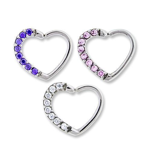 Right Side Pave Gem Annealed Heart Daith Ring - 1 Piece *