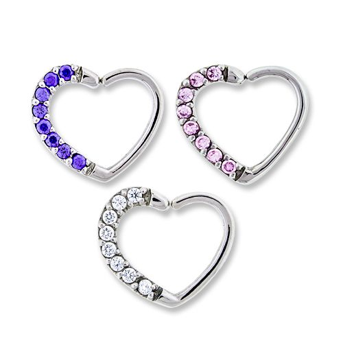 SEAMLESS RING Right Side -Pave Gem Annealed Heart Daith Ring  - 1 Piece -Rebel Bod-RebelBod
