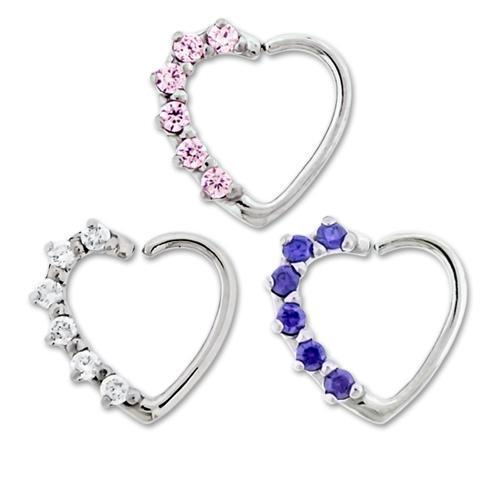 Right Side Prong Gem Annealed Heart Daith Ring - 1 Piece *