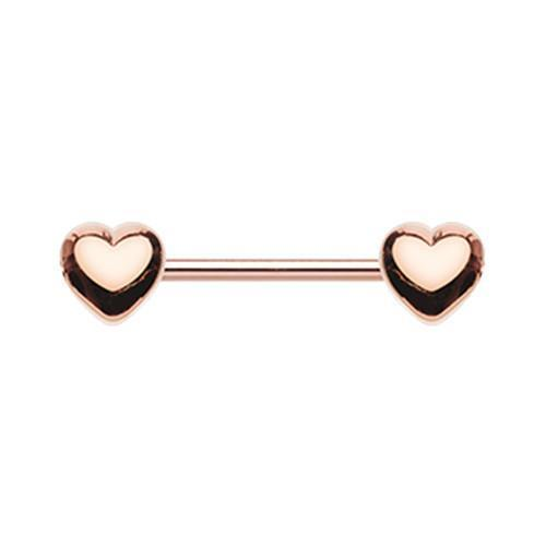 Rose Gold Classic Heart Nipple Barbell Ring - 1 Piece