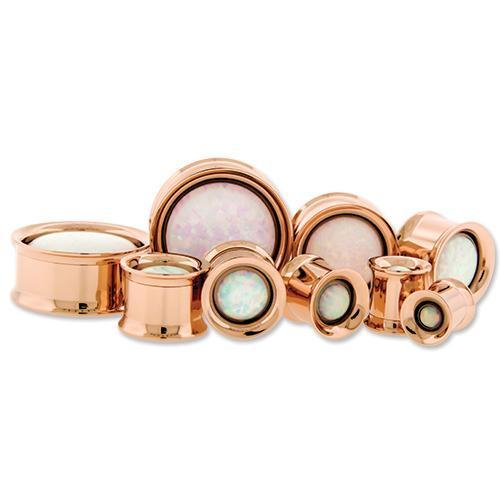 Rose Gold Internally Threaded Double Flare Tunnel Titanium Anodizing Steel Opal Center Gem - 1 Pair