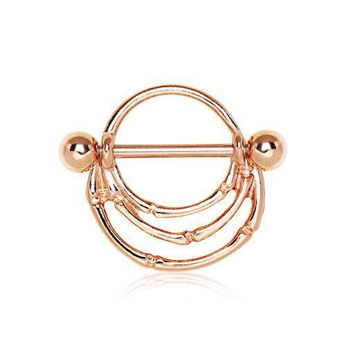 Rose Gold Plated Asymmetrical Layers Nipple Shield - 1 Piece