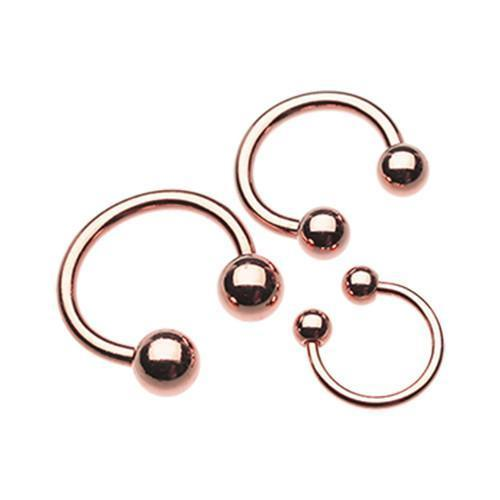 Rose Gold Plated Basic Horseshoe Circular Barbell