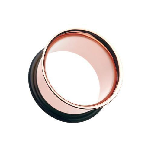 Rose Gold Plated Single Flared Ear Gauge Tunnel Plug - 1 Pair