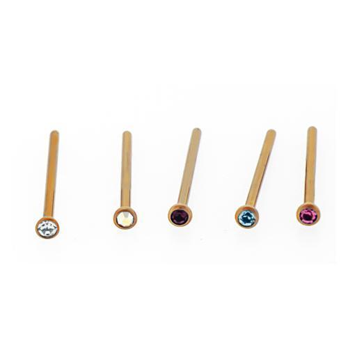 Rose Gold Titanium Nose Pin 18G Color Press Set Gem - 1 Piece