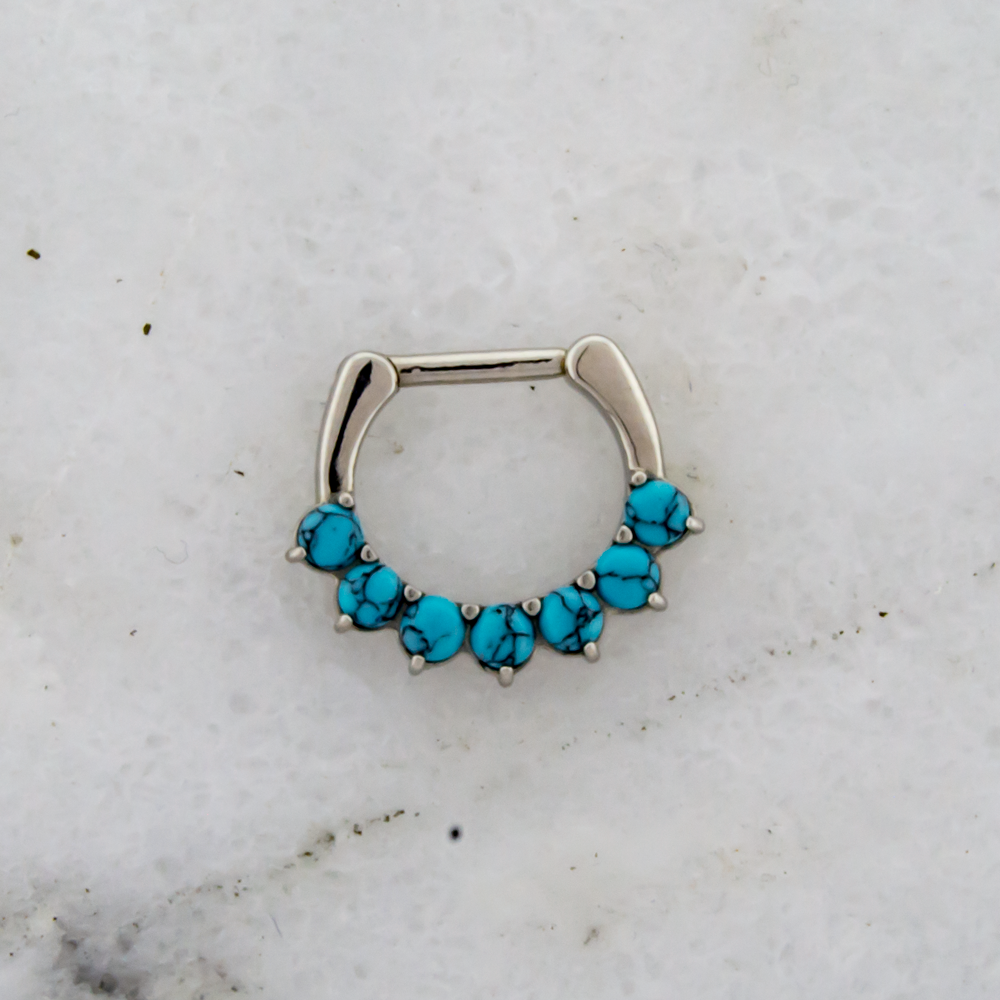 SEAMLESS CLICKER Steel Cast 16g 5/16 Septum Clicker With 7 Prong-Set Turquoise Howlite Stones - 1 Piece -Rebel Bod-RebelBod