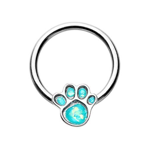 Teal Animal Lover Paw Print Glitter Opal Steel Captive Bead Ring