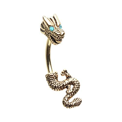 Belly Button Piercing/Navel Piercing/Belly Button Rings/Belly Rings/Banana Dangle Teal Golden Never Ending Dragon Belly Button Ring -Rebel Bod-RebelBod