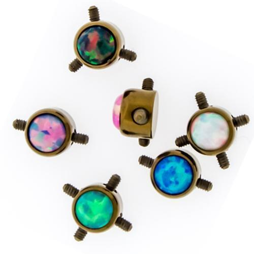 Titanium Bronze Multi Thread Opal Disc - 1 Piece