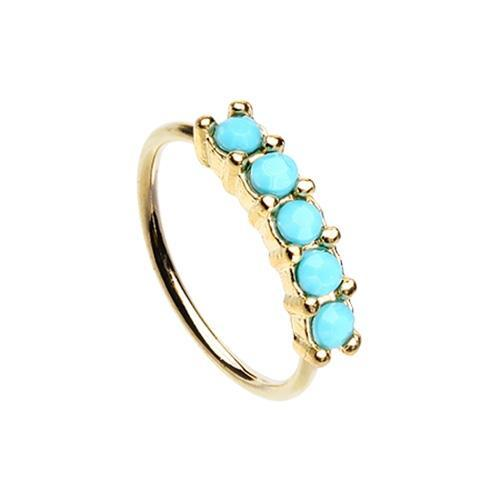 Nose Piercing/Nose Jewelry/Nose Rings/Nose Ring/Nose Studs Turquoise Golden Turquiose Seamless Prong set 5 Gem Bendable Nose Hoop -Rebel Bod-RebelBod