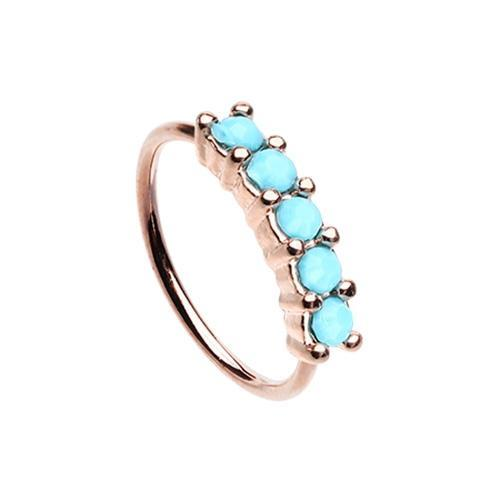Nose Piercing/Nose Jewelry/Nose Rings/Nose Ring/Nose Studs Turquoise Rose Gold Turquiose Seamless Prong set 5 Gem Bendable Nose Hoop -Rebel Bod-RebelBod