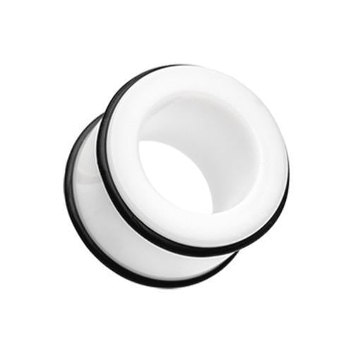 White Basic Acrylic No Flare Ear Gauge Tunnel Plug - 1 Pair