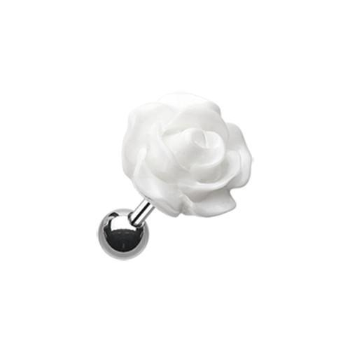 Dainty Rose Cartilage Earring White