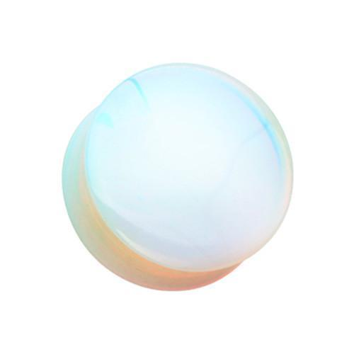 White Opalite Stone Double Flared Ear Gauge Plug - 1 Pair