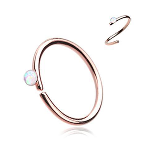 White Rose Gold Opal Sparkle Bendable Steel Nose Hoop
