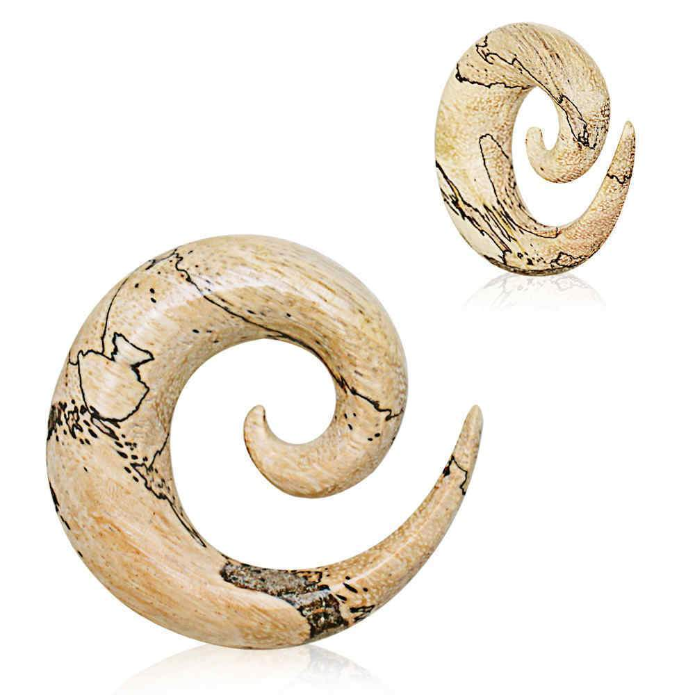 White Tamarind Wood Spiral Taper - 1 Piece