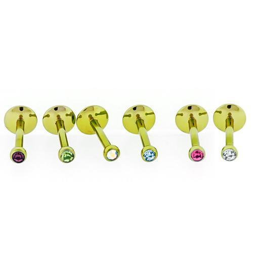 Yellow Titanium Hand Polished Labret Internally Threaded 16G 2.5mm Color - 1 Piece