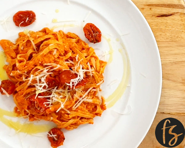 Bada Bing, Bada Boom Soybean Fettuccine With Red Pepper Pesto!
