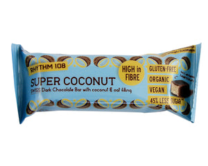 Rhythm 108- Super Coconut Swiss Dark Chocolate Bar (33g) - Foodsake