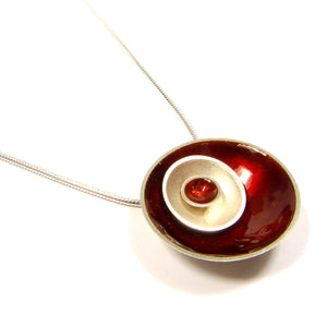 Cherry red enamel silver pendant by Kokkino