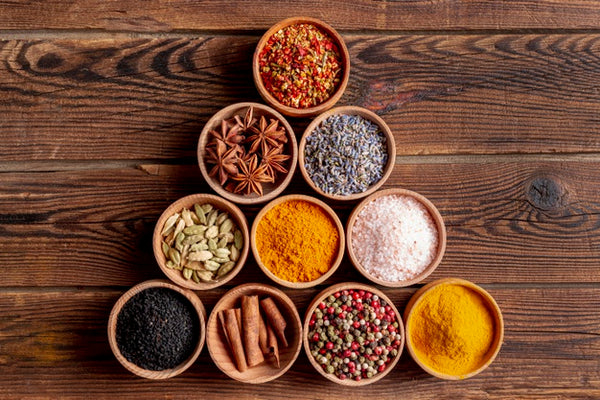 spices with bowls