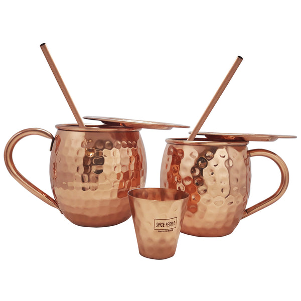 Solid Copper Moscow Mule Mug Set of 2, with Shot Glass