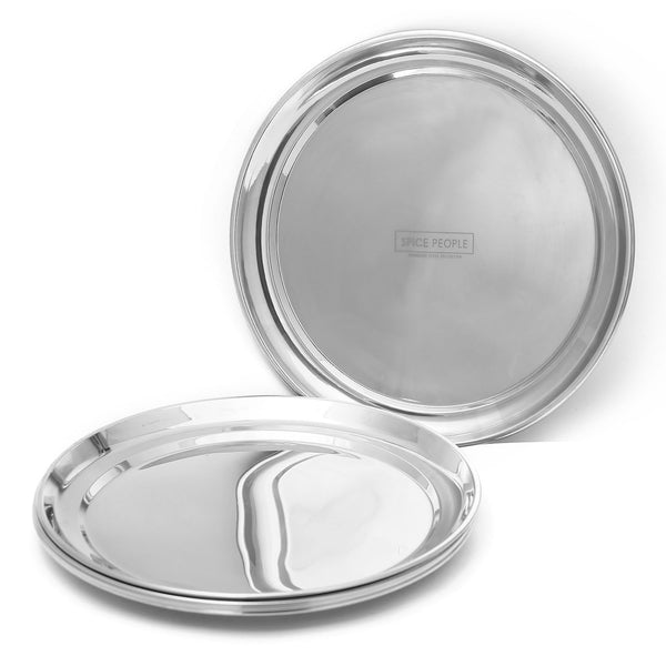 Round Stainless Steel Plate - Quarter Plates Set of 6