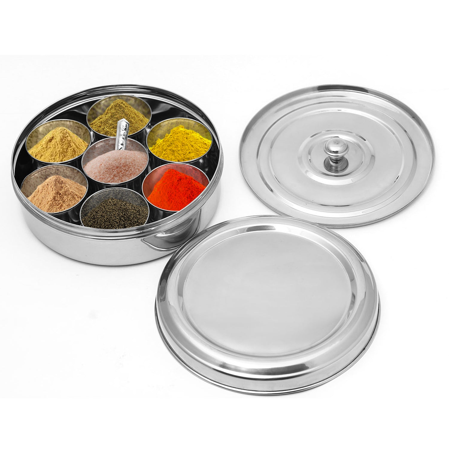 Stainless Steel Indian Spice Box with 7 Containers to stock countryside spices
