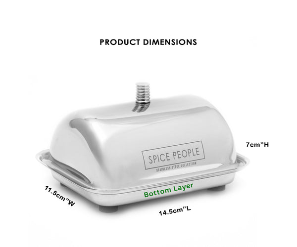Size of Stainless Steel Butter Dish with Lid Thespicepeople.com