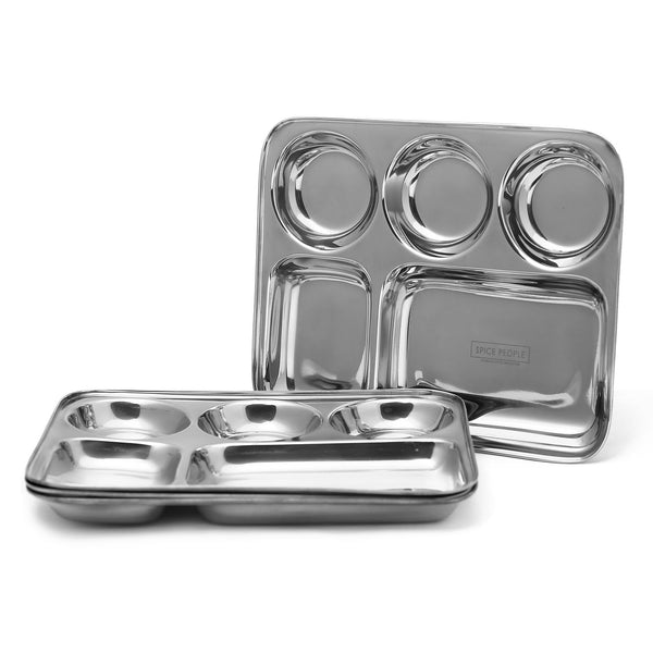 Stainless Steel Dinner Plates with Compartment - 5 Section - 4pcs - The Spice People
