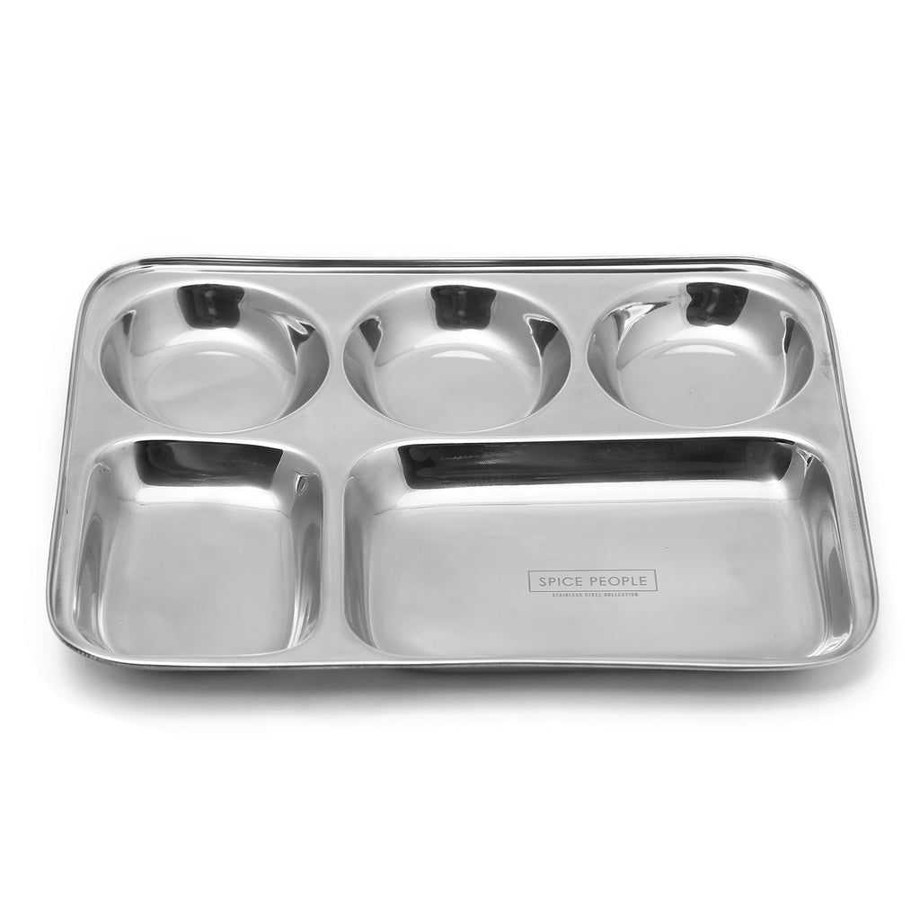 Set of 4 Stainless Steel Lunch Dinner Plate Thali 5 in 1 Rectangle Compartment