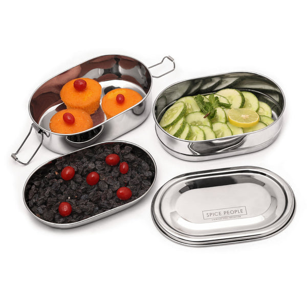 Stainless Steel Lunch Containers - Double Decker Capsule - 16x10x5.5 cm