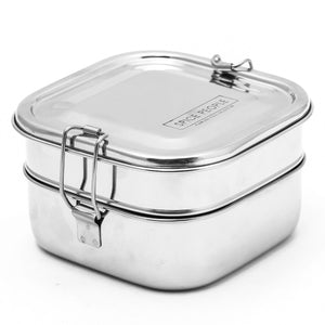Stainless Steel Bento Lunch Box - Square Shape Double Decker
