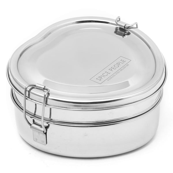 Stainless Steel Heart Shape Tiffin Box - Heart Shape Double Decker - 16x16x9 cm
