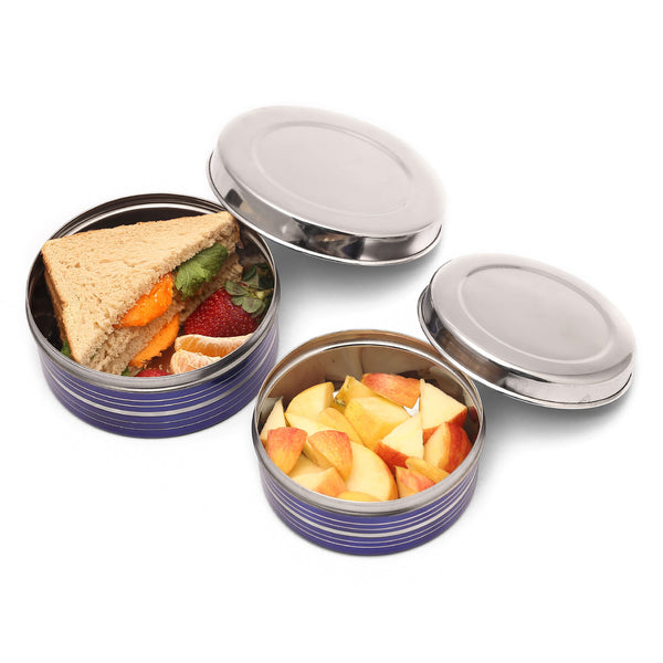 Blue Enameled Stainless Steel Lunch boxes - Set of 2