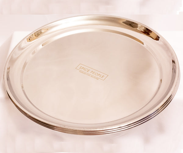 Stainless Steel Dinner Plates - Heavy Duty - Round Plates - For Camping Set of 6
