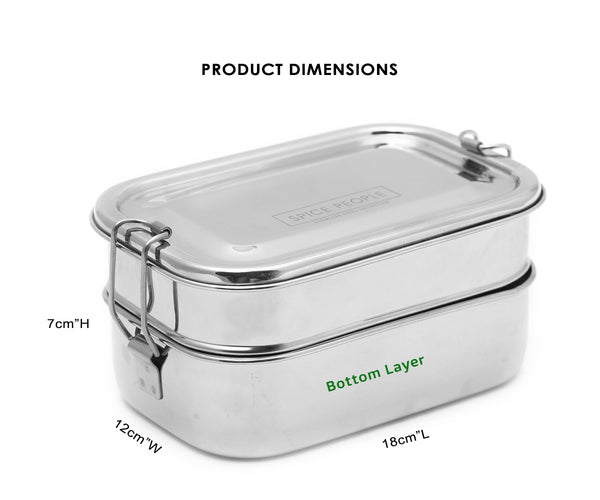 100% Stainless Steel Bento Vintage Double Decker School tiffin box  (2 Tier) | Traditional Lunch box | Food storage Container