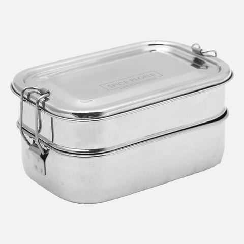 Stainless Steel Double Decker Rectangular Lunch Box