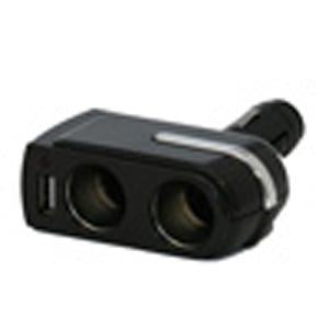 Two Port Cigarette Lighter Adapter with USB Port