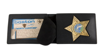 Boston Leather Billfold Style Badge Case with Suede Flap