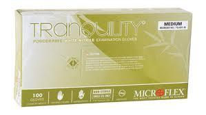 Tranquility Powder Free White Nitrile Gloves