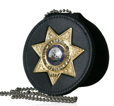 Boston Leather Deluxe Circle Badge Holder with Neck Chain and Pouch