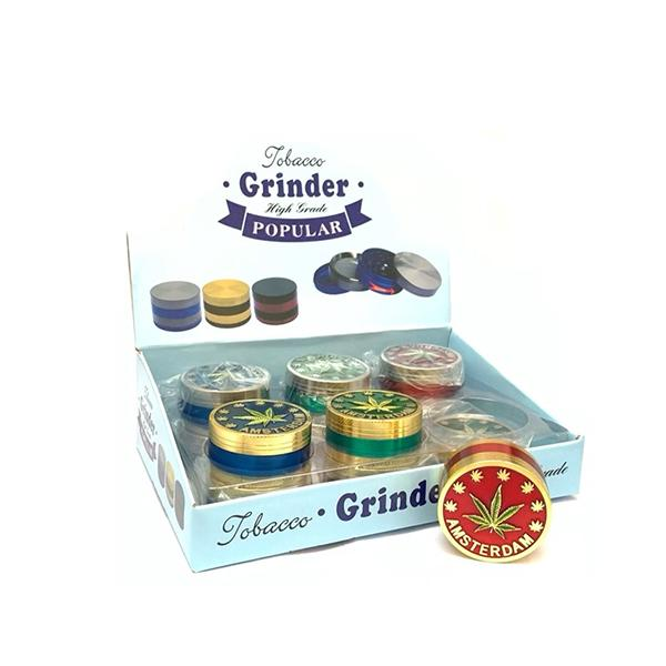 12 x 4 Parts High Grade Amsterdam Metal Grinder - HX103DY-3 - secondvape