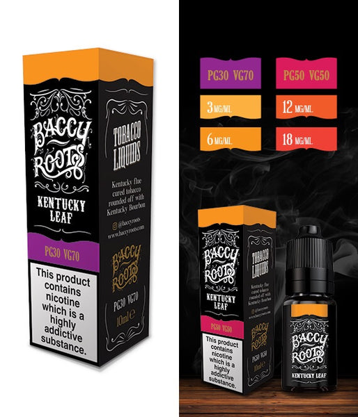 Baccy Roots - Kentucky Leaf 18mg 10ml bottles (50/50) - secondvape