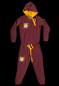 Gold Yellow & Burgundy Sweat Suit