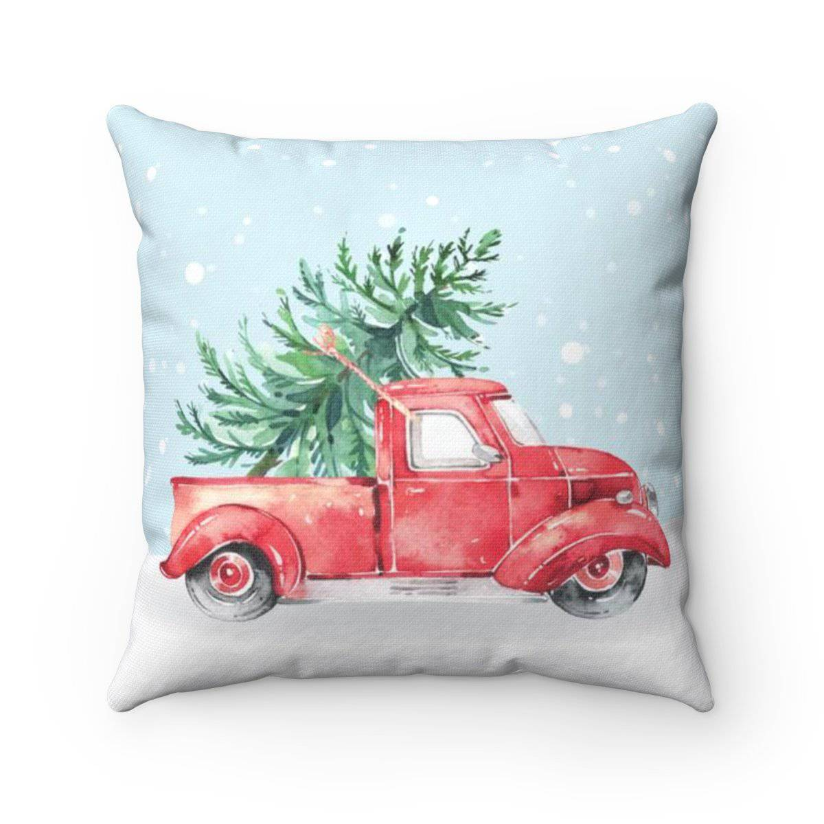 Red Holiday Truck Throw Pillow
