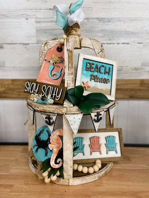 Beach Tiered Tray Decor - My Treasured Gifts Co